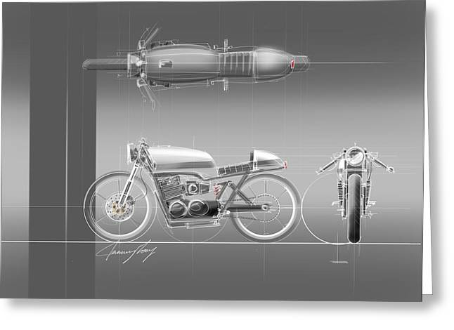 Pegs Greeting Cards - Cafe Racer Greeting Card by Jeremy Lacy
