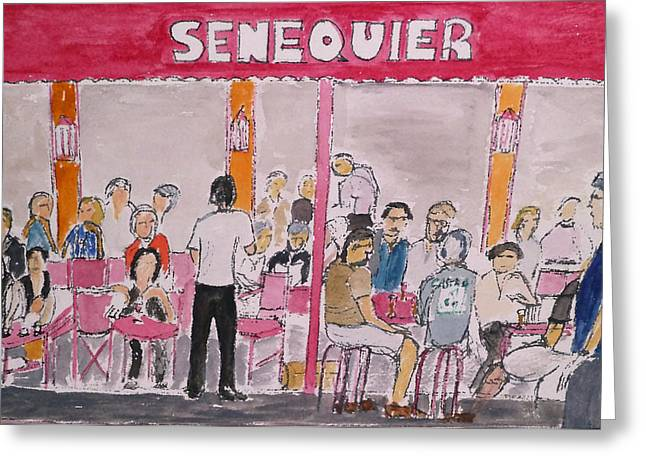 St.tropez Paintings Greeting Cards - Cafe Senequier St Tropez 2012 Greeting Card by Bill White