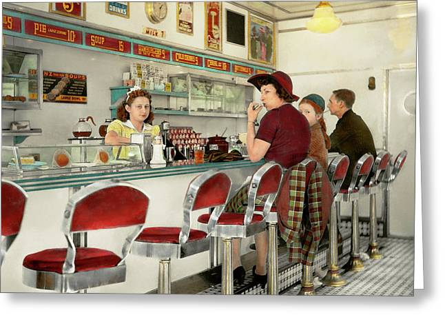 Cafe - The Local Hangout 1941 Greeting Card by Mike Savad