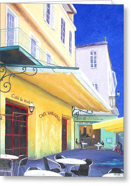 Night Cafe Greeting Cards - Cafe Van Gogh Greeting Card by Jan Matson