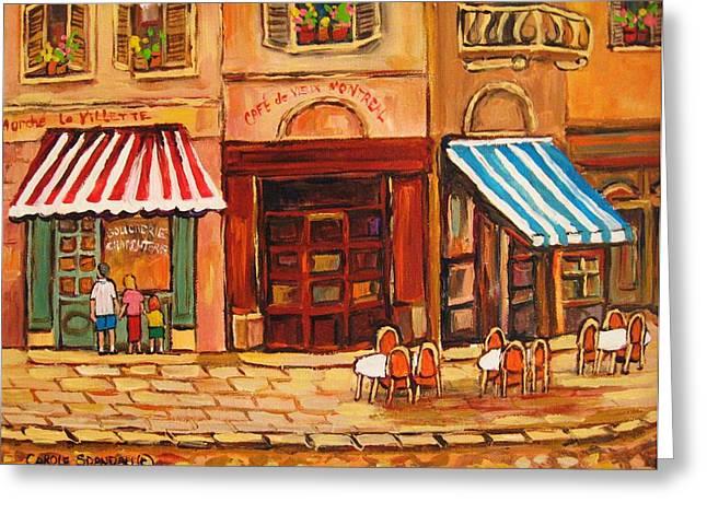Cafe Vieux Montreal Greeting Card by CAROLE SPANDAU