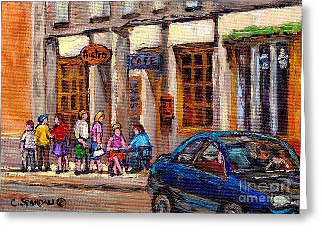 Out-of-date Greeting Cards - Outdoor Cafe Painting Vieux Montreal City Scenes Best Original Old Montreal Quebec Art Greeting Card by Carole Spandau