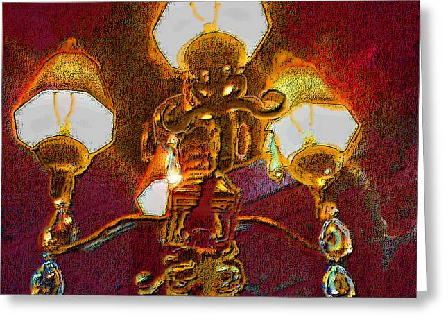 Old Digital Art Greeting Cards - Cafeart Chandelier Greeting Card by ARTography by Pamela  Smale Williams