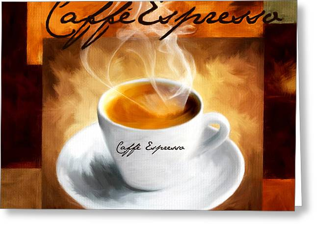 Downtown Cafe Greeting Cards - Caffe Espresso Greeting Card by Lourry Legarde