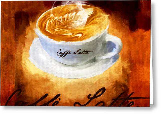 Downtown Cafe Greeting Cards - Caffe Latte Greeting Card by Lourry Legarde