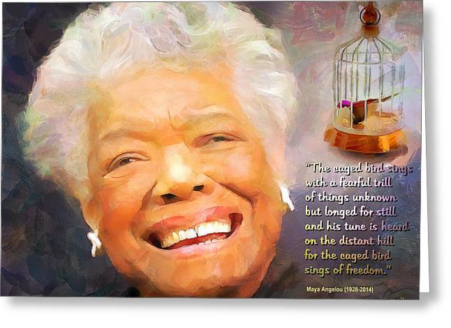 African-americans Greeting Cards - The Caged Bird Sings - Tribute to Maya Angelou Greeting Card by Wayne Pascall