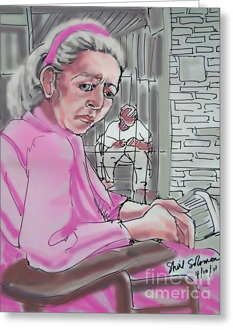 Grey Robe Greeting Cards - Caged Greeting Card by Shirl Solomon