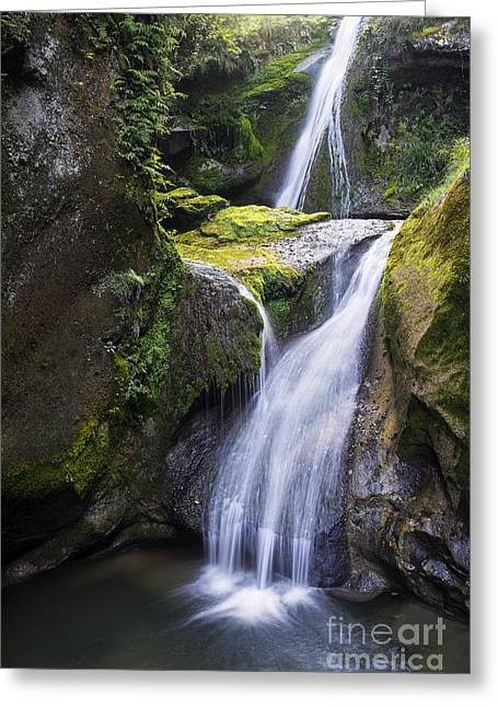 Geologic Formations Greeting Cards - Caglieron waterfalls Greeting Card by Yuri Santin