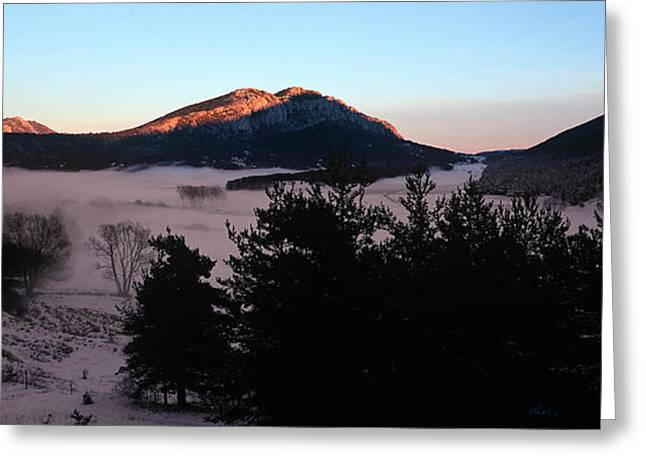 Caille Village In Winter At Dusk Greeting Card by Panoramic Images