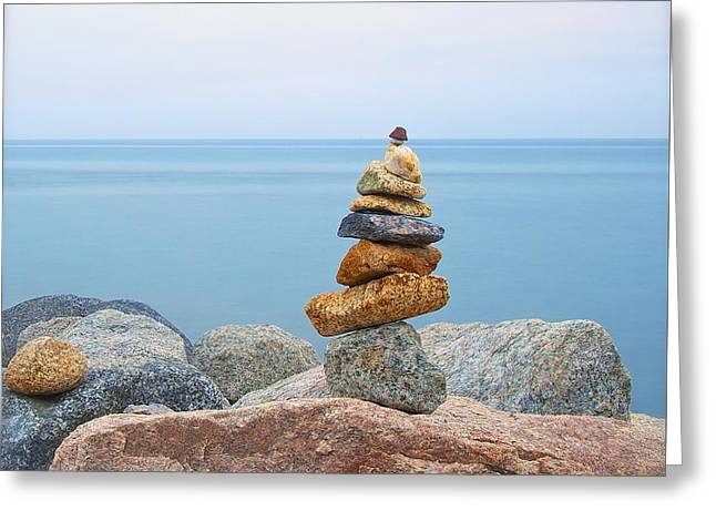 Ocean Art Photography Greeting Cards - Cairn Greeting Card by Photographs by Joules