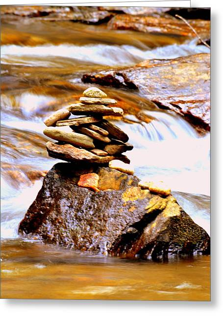 Cairn Greeting Card by Lisa Wooten