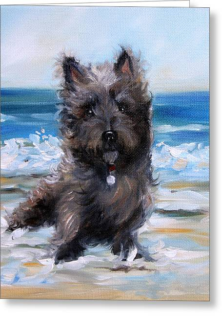 Cairn On The Beach Greeting Card by Mary Sparrow