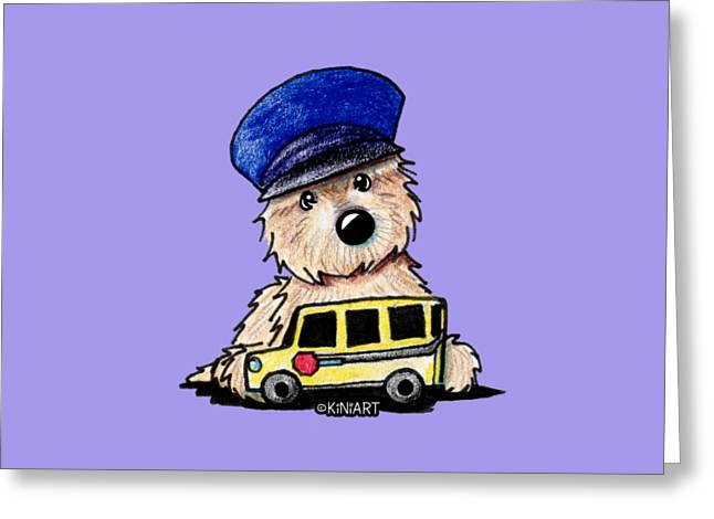 Kim Drawings Greeting Cards - Cairn Terrier Bus Driver Greeting Card by Kim Niles