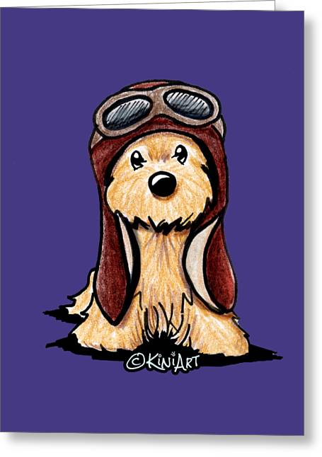 Cartoonist Greeting Cards - Cairn Terrier Pilot Greeting Card by Kim Niles