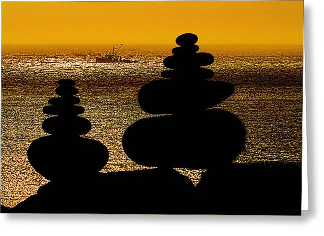 Coastal Maine Greeting Cards - Cairns in Silhouette Greeting Card by Marty Saccone