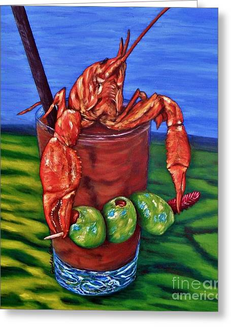 Florida Seafood Greeting Cards - Cajun Cocktail Greeting Card by JoAnn Wheeler