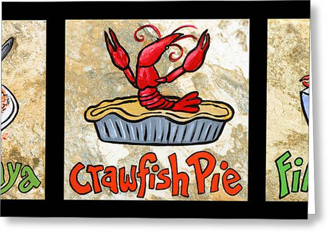 Zydeco Greeting Cards - Cajun Food Trio Greeting Card by Elaine Hodges