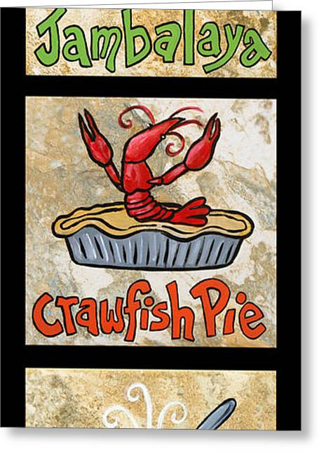Gumbo Greeting Cards - Cajun Trio Black Greeting Card by Elaine Hodges