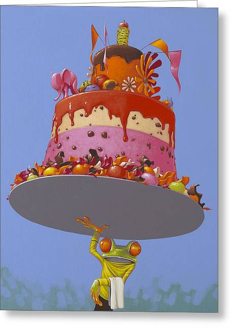 Delivery Greeting Card featuring the painting Cake by Jasper Oostland