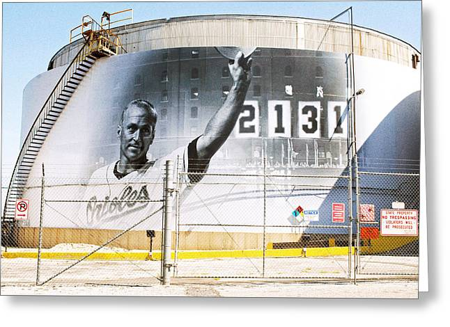 Cal Ripkin Under Armour Tank Mural Baltimore, Md.  Greeting Card by Chet  Dembeck