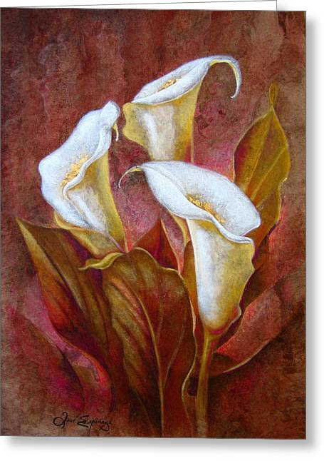 Amate Bark Paper Greeting Cards - Cala Lillies Bouquet Greeting Card by Jose Espinoza