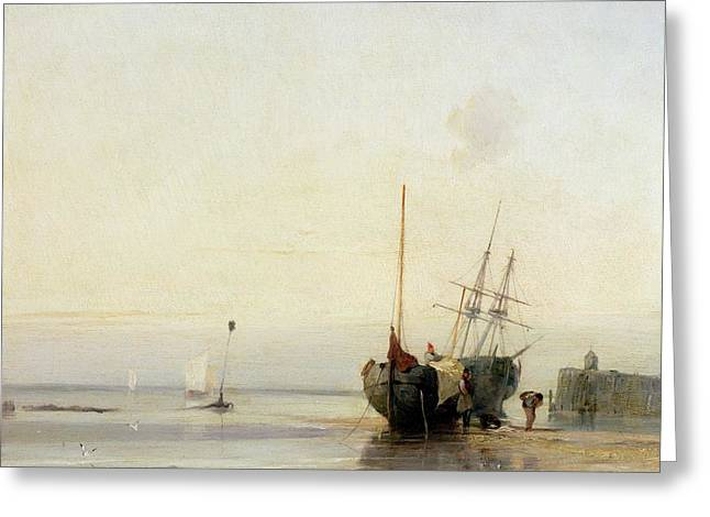 Docked Sailboats Paintings Greeting Cards - Calais Pier Greeting Card by Richard Parkes Bonington