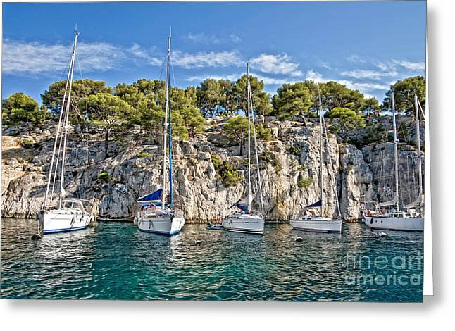 Mediterranean Landscape Photographs Greeting Cards - Calanque and boats Greeting Card by Delphimages Photo Creations