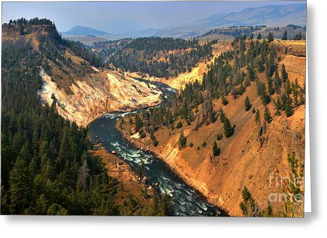 Mountain Road Greeting Cards - Calcite Spring Overlook Panorama Greeting Card by Adam Jewell
