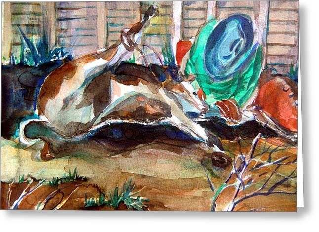 Steer Drawings Greeting Cards - Calf Roping Greeting Card by Mindy Newman