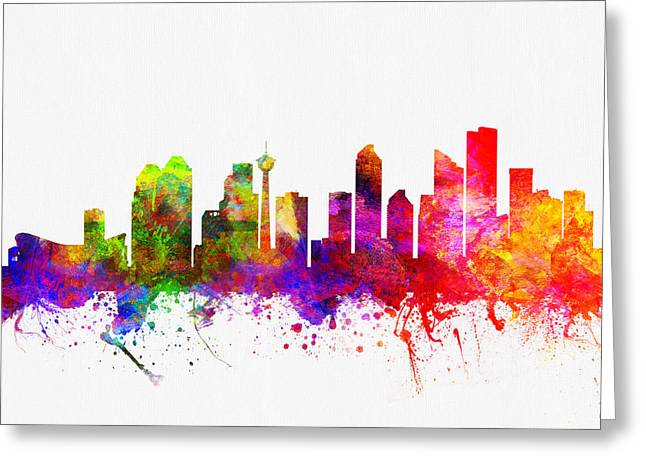 Calgary Alberta Skyline Color02 Greeting Card by Aged Pixel