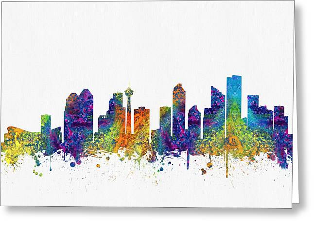 Calgary Greeting Cards - Calgary Alberta Skyline Color03 Greeting Card by Aged Pixel