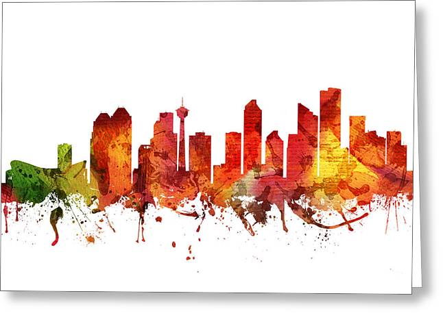 Canadian Drawings Greeting Cards - Calgary Cityscape 04 Greeting Card by Aged Pixel