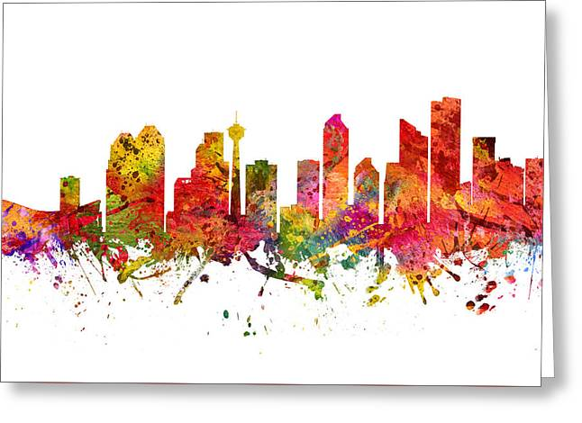 Calgary Greeting Cards - Calgary Cityscape 08 Greeting Card by Aged Pixel