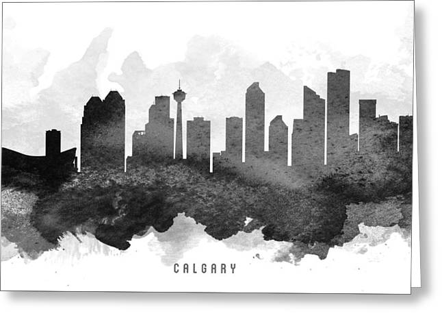 Calgary Greeting Cards - Calgary Cityscape 11 Greeting Card by Aged Pixel