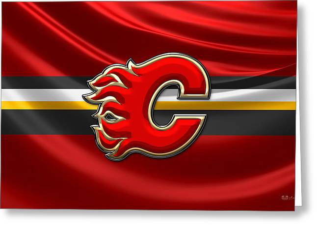 Hockey Memorabilia Greeting Cards - Calgary Flames - 3D Badge over Silk Flag Greeting Card by Serge Averbukh