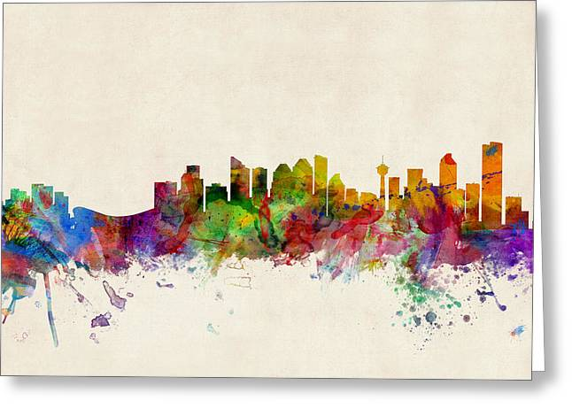 Canadian Greeting Cards - Calgary Skyline Greeting Card by Michael Tompsett