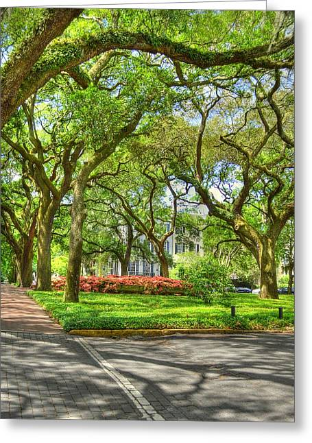 Moss Greeting Cards - Calhoun Square Greeting Card by Linda Covino