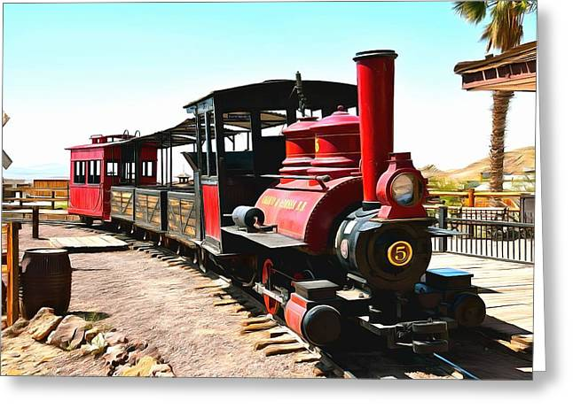Calico And Odessa Rail Road Greeting Card by Barbara Snyder