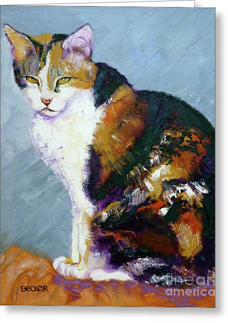 Cat Drawings Greeting Cards - Calico Buddy Greeting Card by Susan A Becker