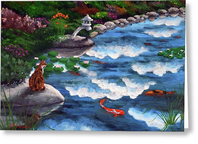 Calico Greeting Cards - Calico Cat at Koi Pond Greeting Card by Laura Iverson