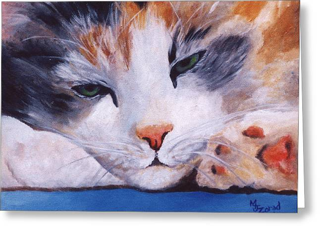 Calico Cat Power Nap Series Greeting Card by Mary Jo Zorad