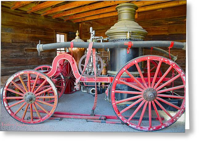 Wagon Wheels Greeting Cards - Calico Ghost Town Fire Engine Greeting Card by Barbara Snyder