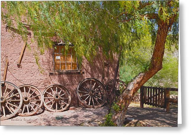 Antique Wagon Greeting Cards - Calico Ghost Town Wagon Wheels Greeting Card by Barbara Snyder