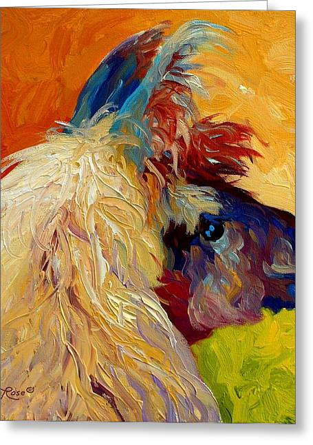 Pet Greeting Cards - Calico Llama Greeting Card by Marion Rose