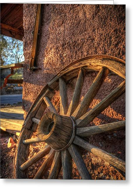 Wooden Wagons Greeting Cards - Calico Wheel Greeting Card by Wayne Stadler