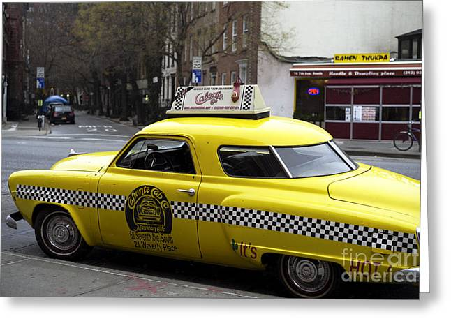 Caliente Yellow Cab Greeting Card by John Rizzuto