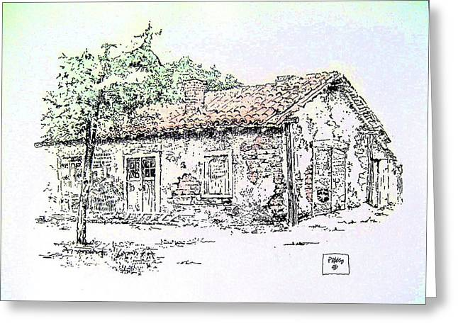 Adobe Drawings Greeting Cards - California Adobe Greeting Card by Roberto Prusso