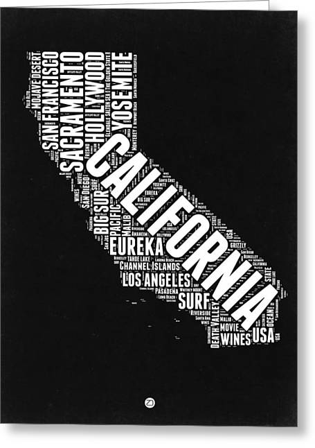San Francisco Greeting Cards - California Black and White Word Cloud Map Greeting Card by Naxart Studio