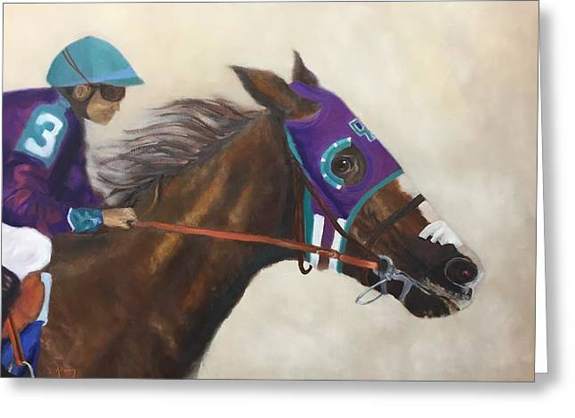 Preakness Stakes Greeting Cards - California Chrome Greeting Card by Sharon Attaway