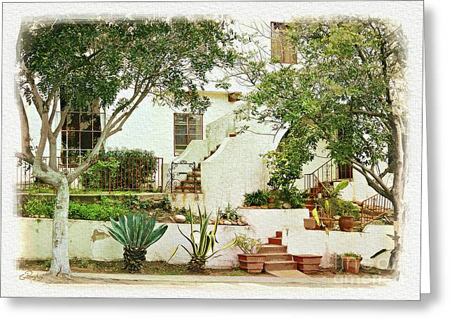 Townscape Digital Greeting Cards - California - City Front Yard Greeting Card by Gabriele Pomykaj